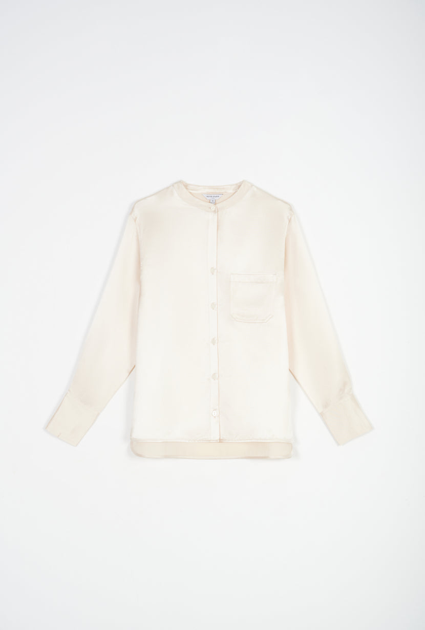 white blouse-silk blouse-petite fashion-petite girls-Basic Essentials Spring 21-Laurel blouse - Buttermilk-Petite Studio NYC