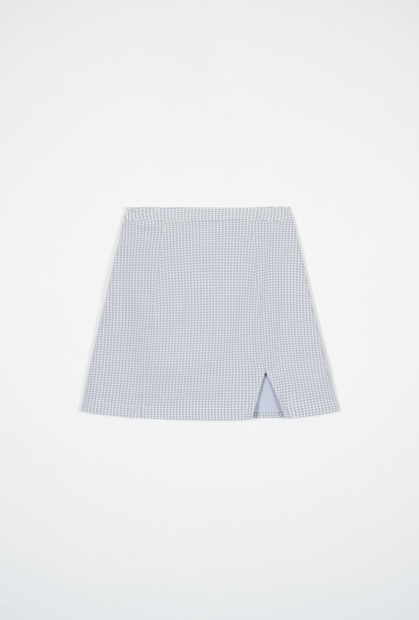 plaid skirt-high waist skirt-petite fashion-petite girls-Summer 2021-Mollie Skirt - Blue Plaid-Petite Studio NYC