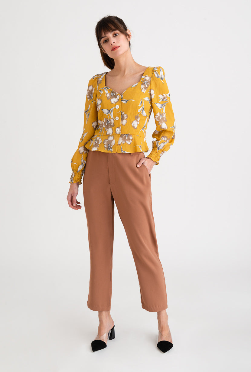 Marjory Top-Mustard-yellow floral long-sleeve blouse-Petite Studio NYC