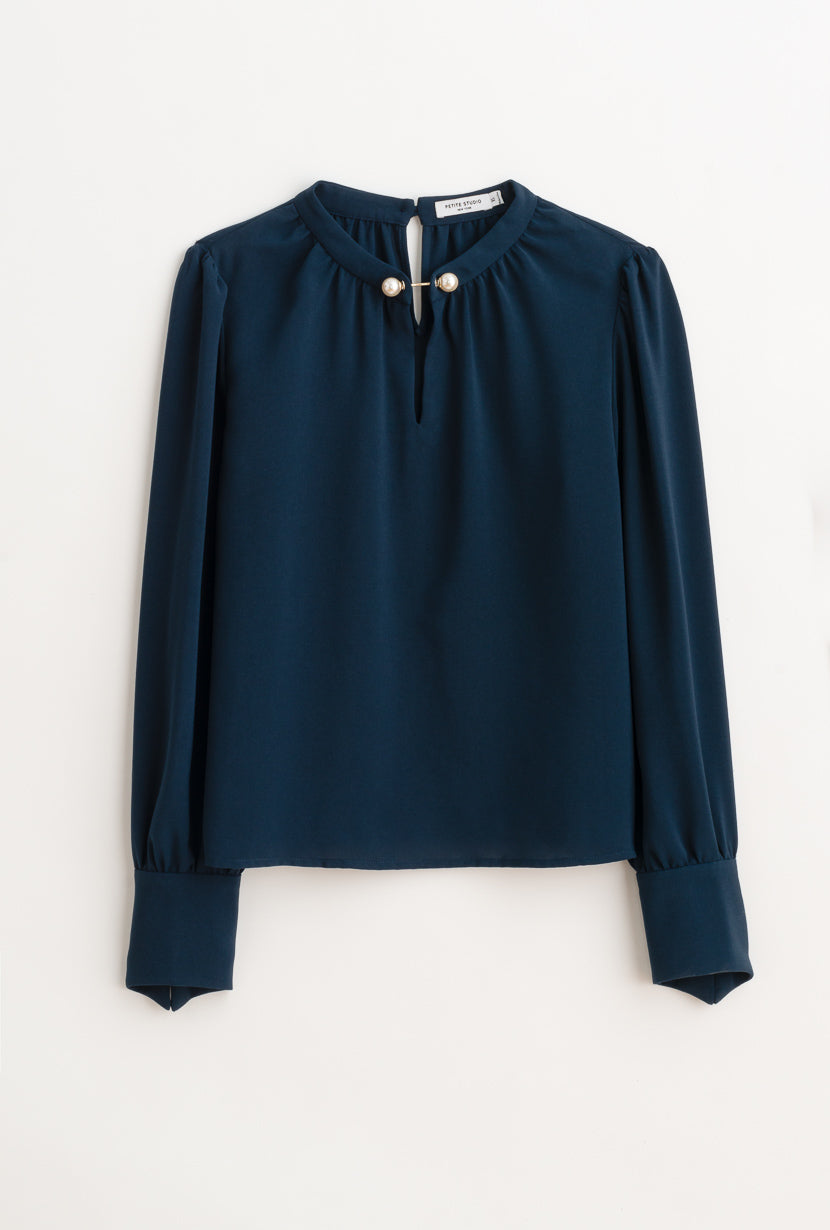 Buvette Pearl Blouse-Navy-navy pearl detailed long-sleeve blouse-Petite Studio NYC
