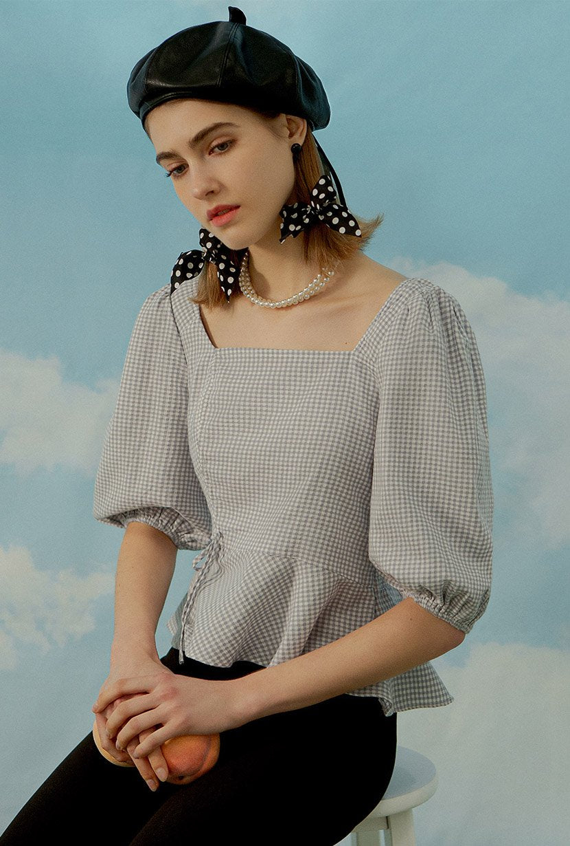 Margot Cotton Top - Blue Gingham - Ballon sleeve top - Petite Studio NYC