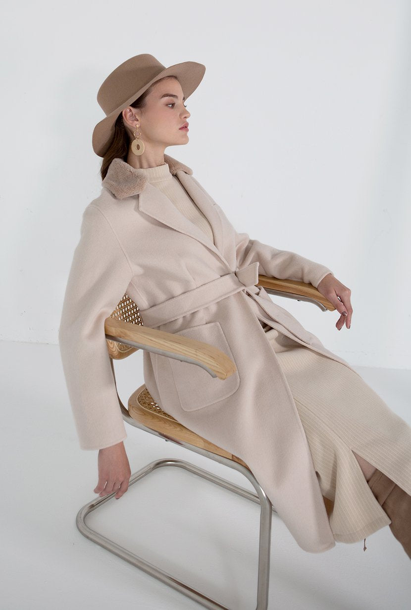 Gigi Cashmere Coat - Oatmeal - Beige cashmere blend double wool coat with patch pockets and detachable wool shearling collar - Petite Studio NYC