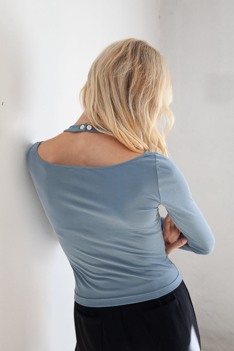 home-top-pajama-petite fashion-petite girls-new arrivals oct 20 home-Lena Jersey Top - Dusty Blue-Petite Studio NYC