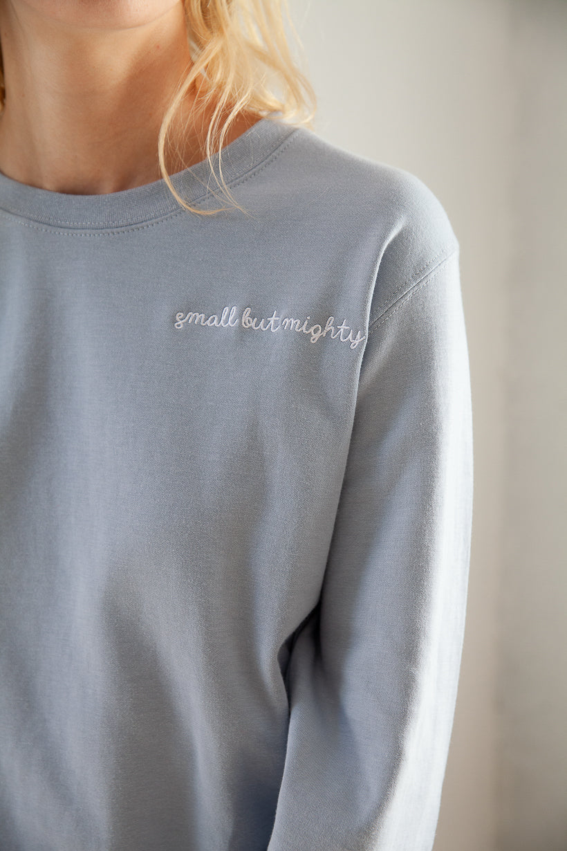 hoodie-sweatshirt-petite fashion-petite girls-Sweatshirt - small but mighty - Blue -Petite Studio NYC