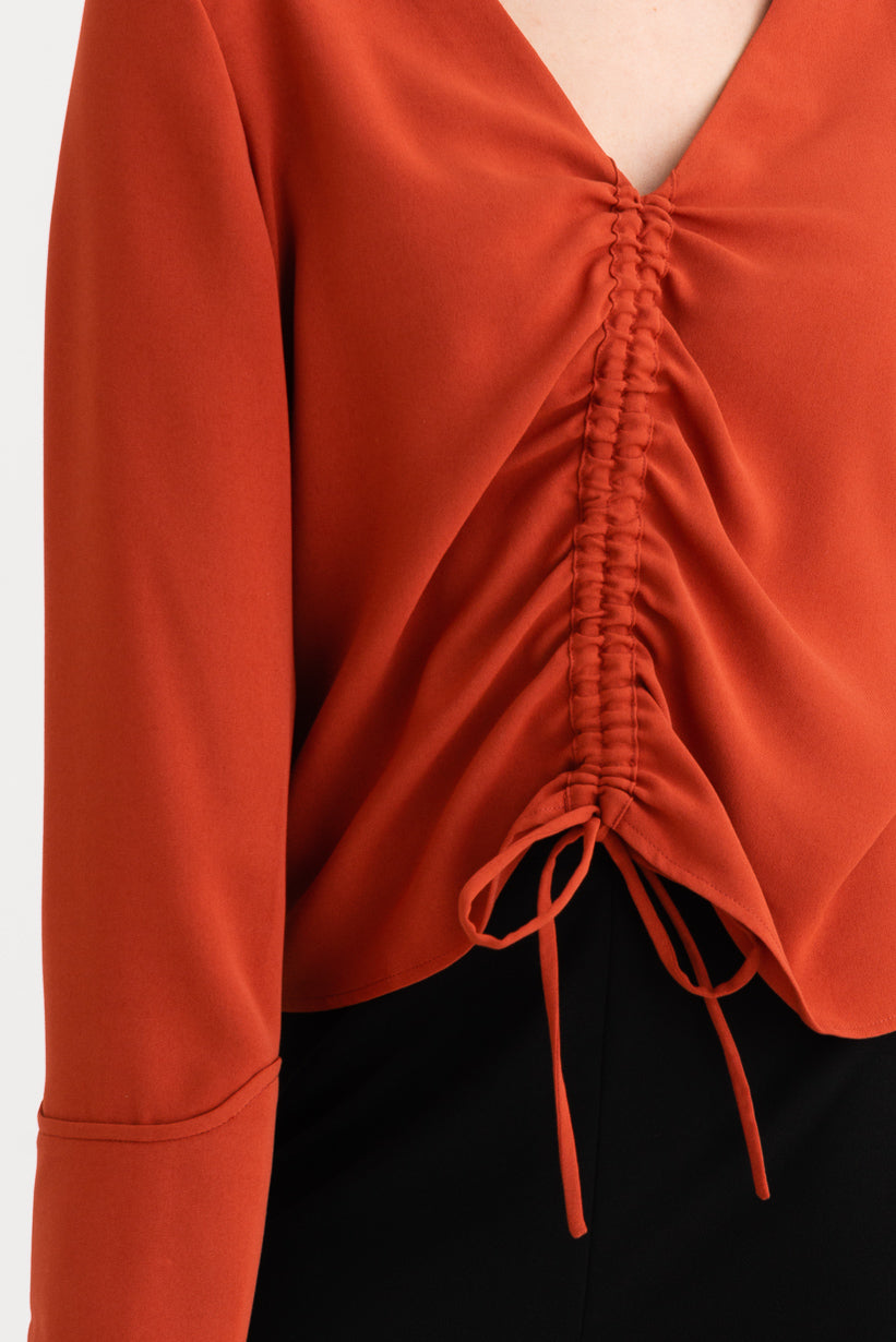 Stella Top -Cherry Red-red v-neckline long-sleeve top-Petite Studio NYC