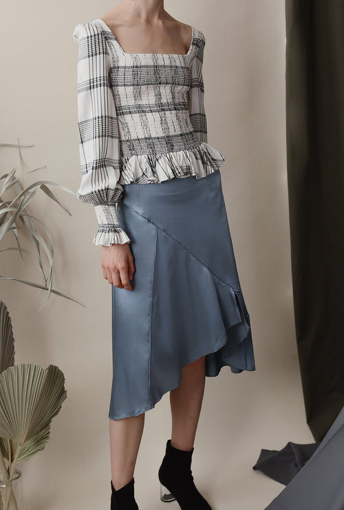 Attie Skirt - Dusty Blue - Asymmetrical midi skirt - Petite Studio NYC