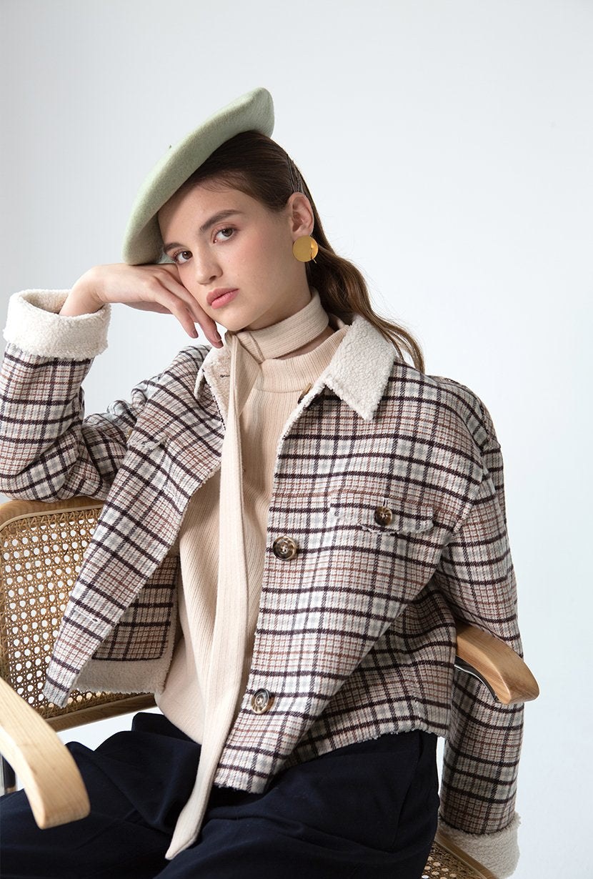 Stockholm Jacket - Brown Plaid - Brown plaid oversized cropped jacket, two sided, has faux shearling on one side - Petite Studio NYC