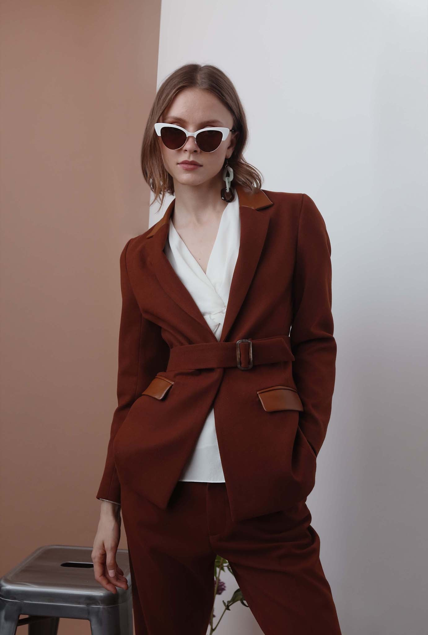 Austen Jacket - Cocoa - Brown slim fit structured blazer - Petite Studio NYC