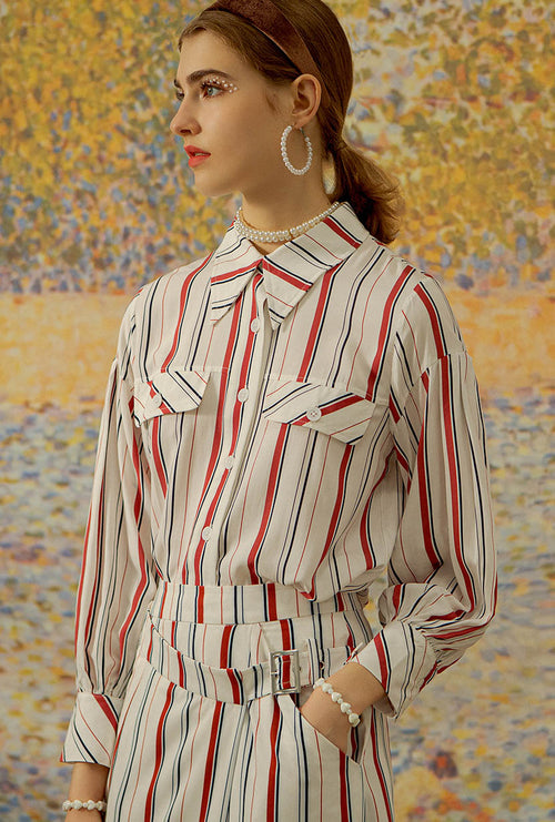 Carolina Blouse - Striped button down blouse - Petite Studio NYC