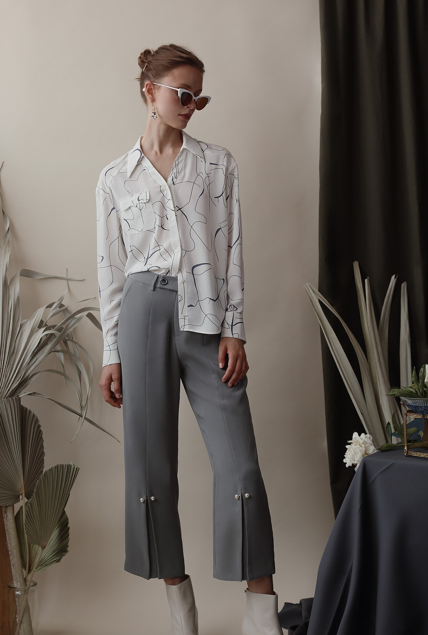 Belda Pants - Steel - Pearl detailed high-waist straight fit suit pants - Petite Studio NYC