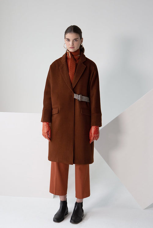 Carmen Wool Coat - Cinnamon - Cinnamon color kimono sleeve oversized wool coat with plaid adjustable belt - Petite Studio NYC