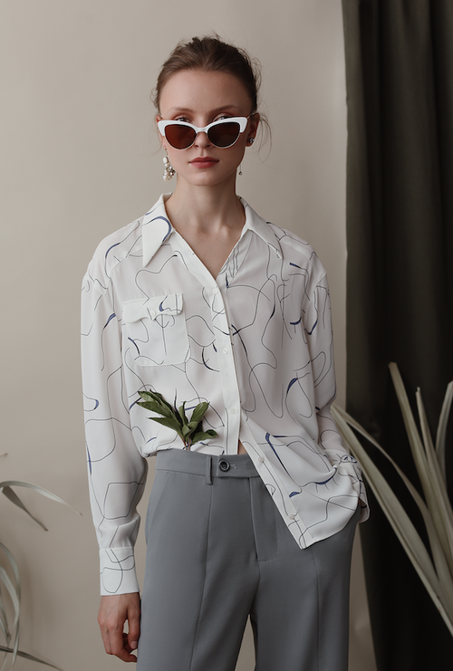 Rena Blouse - Scribble - White scribble print blouse with a front pocket - Petite Studio NYC