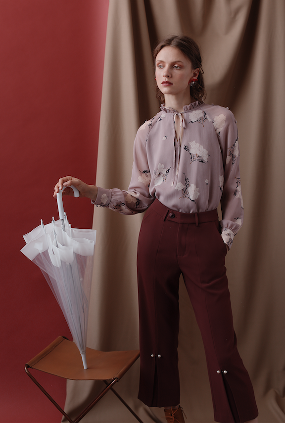 Belda Pants - Mauve - Pearl detailed high - waist straight fit suit pants - Petite Studio NYC