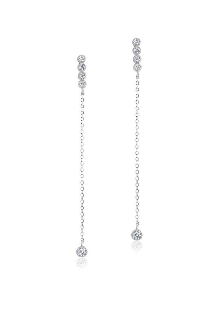 LE|J Diamond and Silver Dangle Chain Earrings - Petite Studio NYC - Jewelry Collection