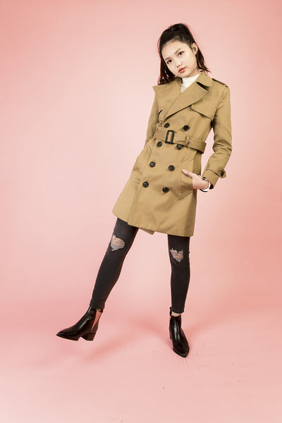 Avenue Khaki Trench Coat | Petite Studio-petite clothing & outerwear