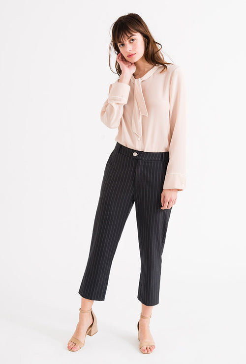 Emery Pants - Pinstripe-bottoms-Petite Studio