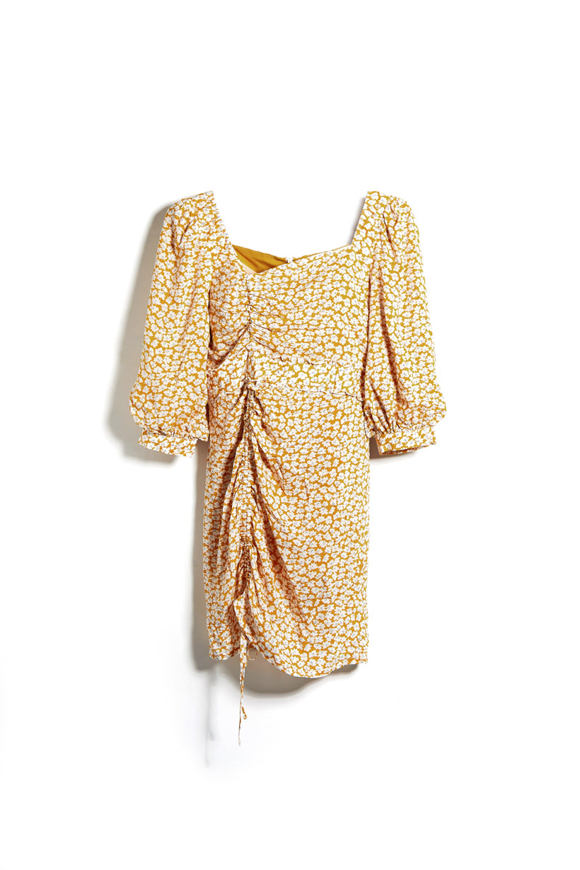 Roxy Dress - Mustard Floral - midi dress with self-cinching front , ruffled hem detail at waistband, three-quarter balloon sleeve, asymmetrical square neckline - Petite Studio NYC