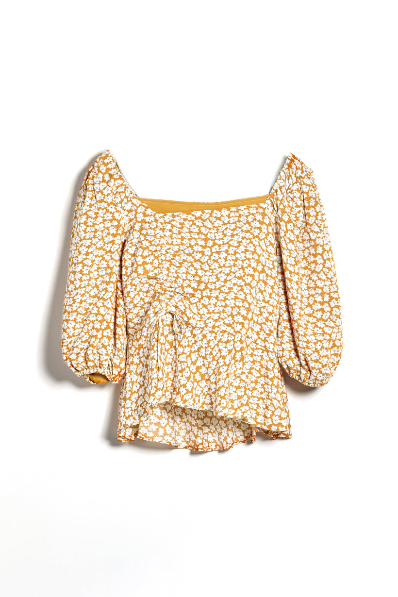 Margot Top - Mustard Floral - Ballon sleeve floral top - Petite Studio NYC