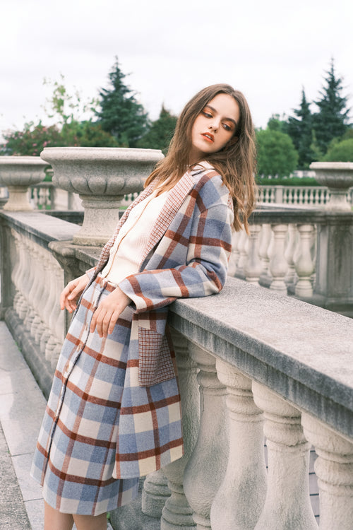 long coat-fall coat-petite fashion-petite girls-Fall 2020-Memphis Coat - Blue Plaid-Petite Studio NYC