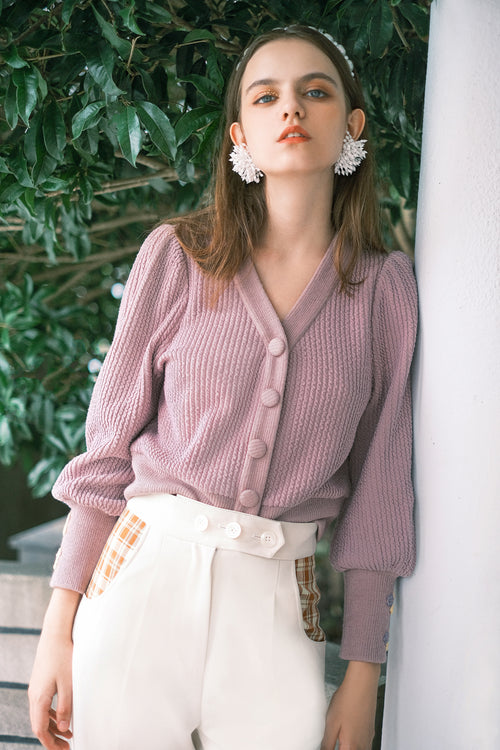 knit cardigan-lavender sweater-petite fashion-petite girls-Fall 2020-Celia Cardigan - Lavender-Petite Studio NYC