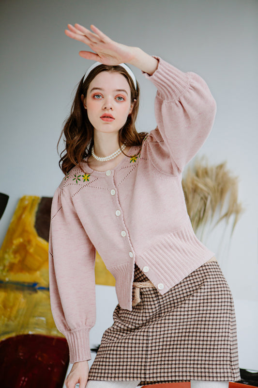 knit sweater-pink sweater-petite fashion-petite girls-Winter 2020-Andrea Sweater-  Light Pink-Petite Studio NYC