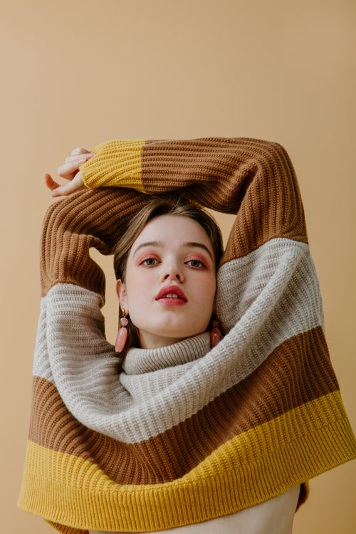 knit sweater-turtleneck sweater-petite fashion-petite girls-Winter 2020-Lena Wool Sweater - brown-Petite Studio NYC