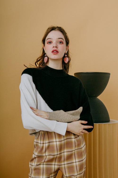 sweater-wool sweater-petite fashion-petite girls-Winter 2020-Meredith Wool Sweater - Black & White -Petite Studio NYC