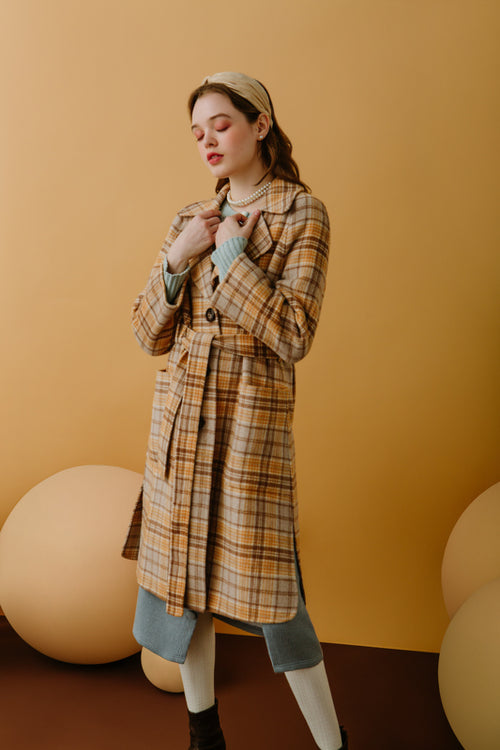 women's winter coats-caramel coat-petite fashion-petite girls-Winter 2020-Christie Wool Coat - Caramel Plaid-Petite Studio NYC