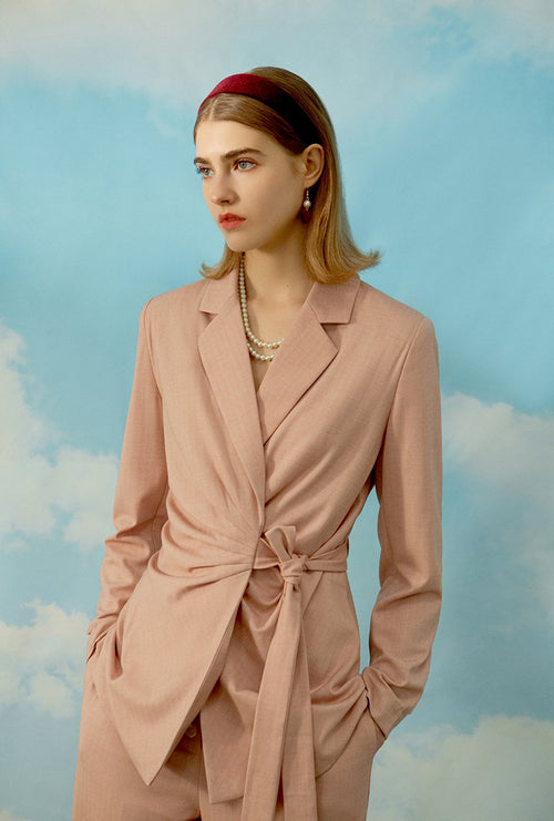 Baltimore Jacket - Dusty Rose - irregular shaped pleated detail jacket - Petite Studio NYC