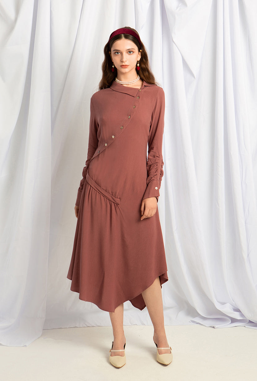 Alexa Tencel Dress - Mulberry - Oblique button down shirt dress - Petite Studio NYC