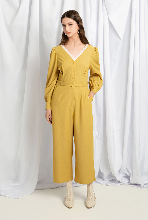 Annie Jumpsuit - Lime - Bell long sleeve jumpsuit - Petite Studio NYC