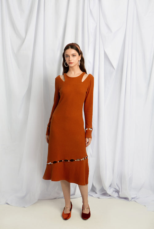 Sovano Cotton Knit Dress - Rust - Above ankle pearl button knit dress - Petite Studio NYC