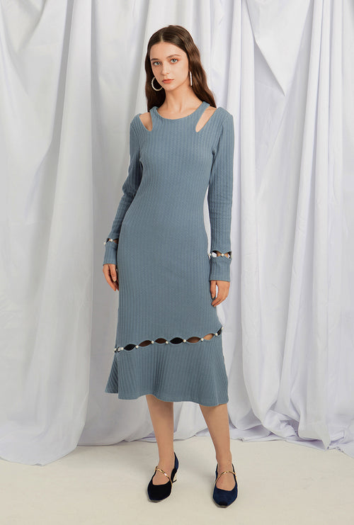 Sovano Cotton Knit Dress - Sky Blue - Above ankle pearl button knit dress - Petite Studio NYC