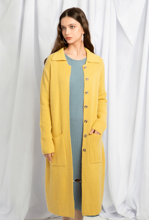 Brownstein Wool Cardigan - Yellow - Long ribbed wool cardigan - Petite Studio NYC