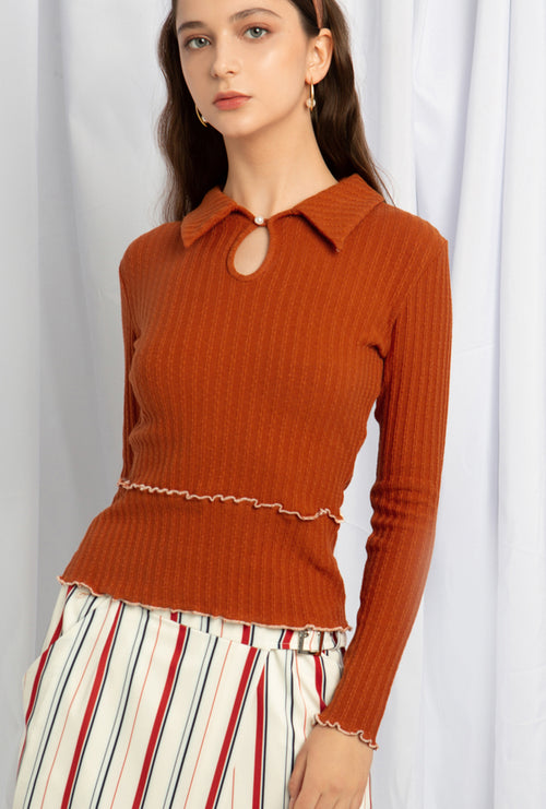 Sonya Cotton Knit - Rust - Vintage polo knit top- Petite Studio NYC