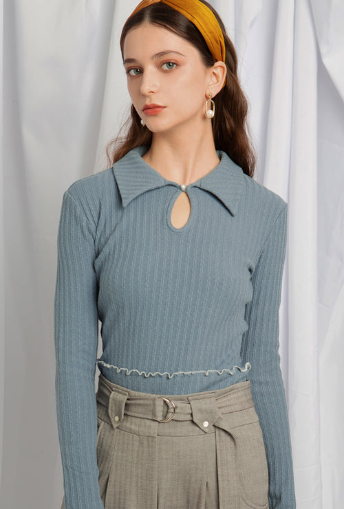 Sonya Cotton Knit - Sky Blue - Vintage polo knit top - Petite Studio NYC