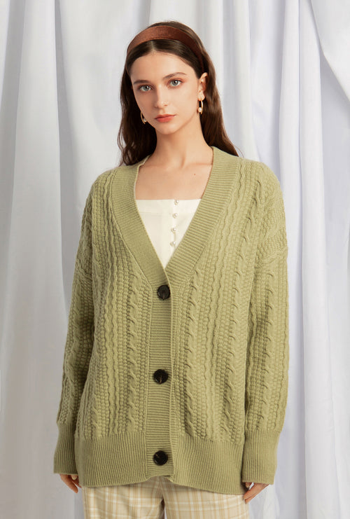 Tatum Wool Cardigan - Light Moss - Button down braided cardigan - Petite Studio NYC