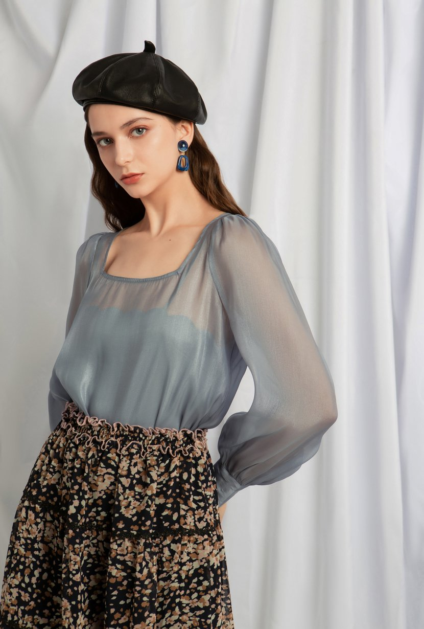Kendra Top - Light Blue - Two in one chiffon top - Petite Studio NYC