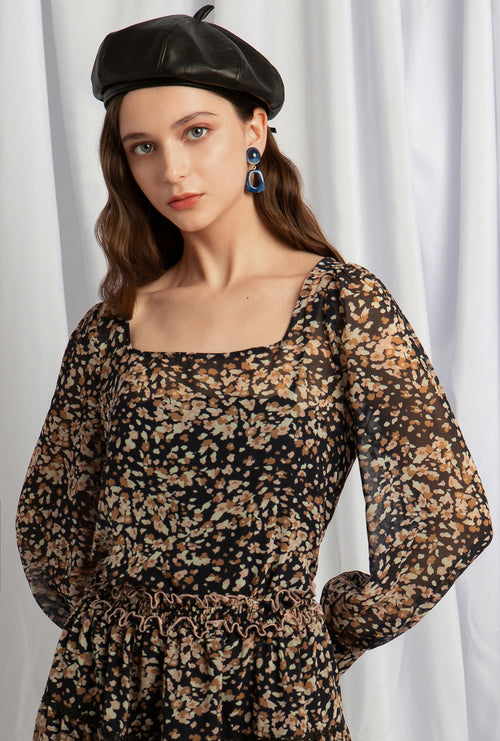 Kendra Top - Navy Print - Two in one chiffon top - Petite Studio NYC