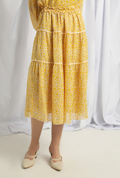 Olsen Skirt - Yellow Print - Chiffon skirt - Petite Studio NYC