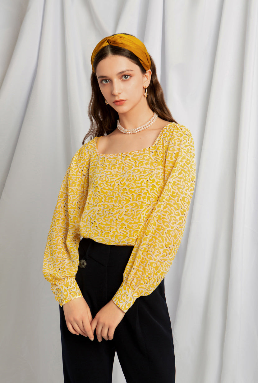 Kendra Top - Yellow Print - Two in one chiffon top - Petite Studio NYC