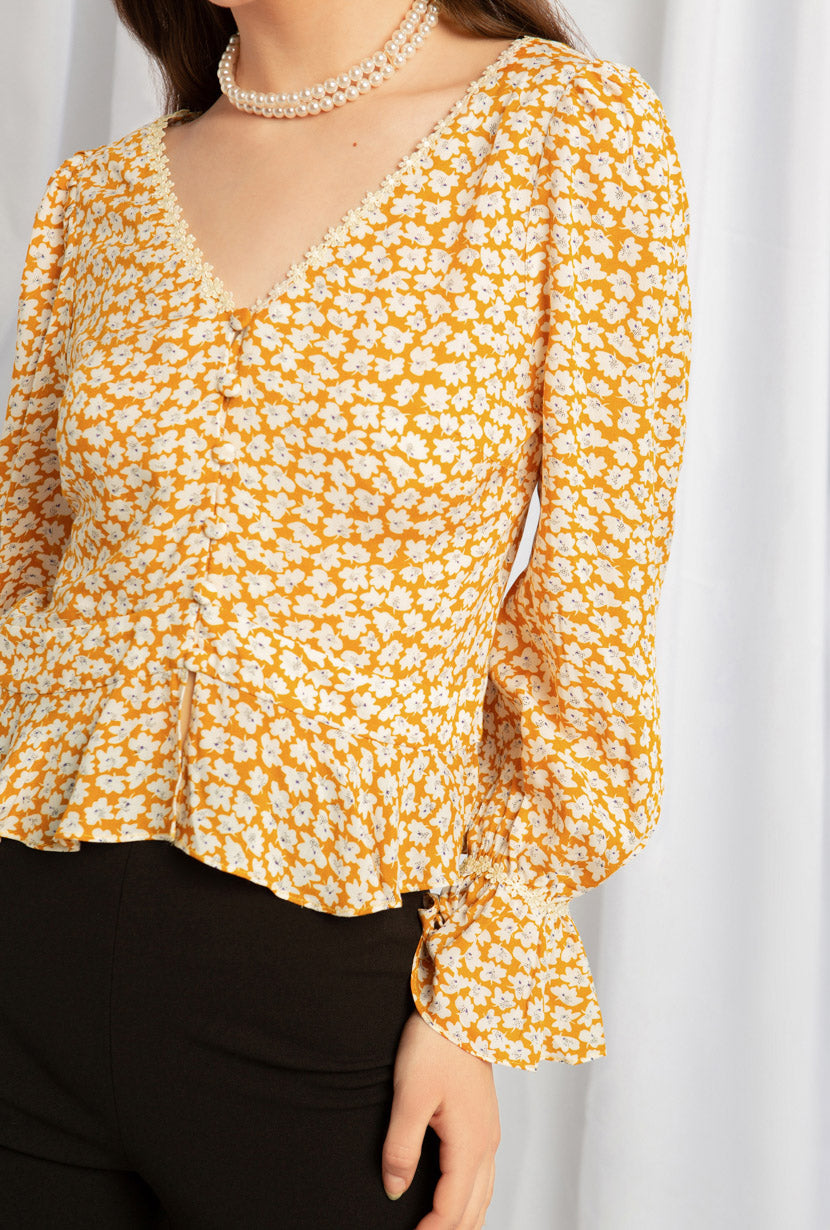Oslo Top - Mustard Floral - V neck floral top - Petite Studio NYC