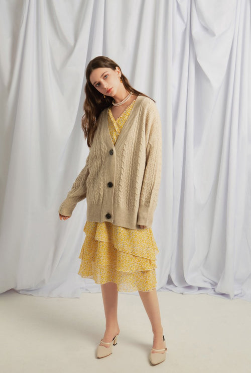 Tatum Wool Cardigan - Oatmeal - Button down braided cardigan - Petite Studio NYC