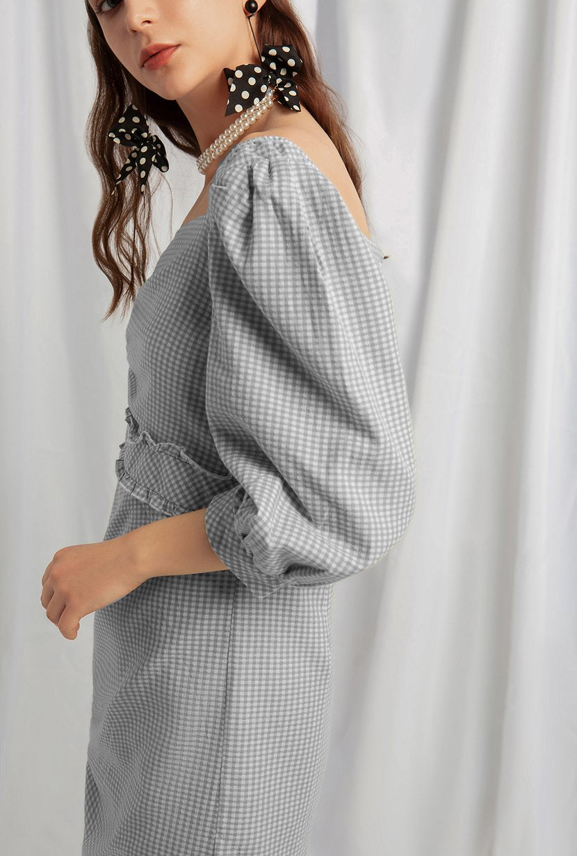 Roxy Cotton Dress - Blue Gingham - Midi dress with self-cinching front , ruffled hem detail at waistband, three-quarter balloon sleeve, asymmetrical square neckline - Petite Studio NYC