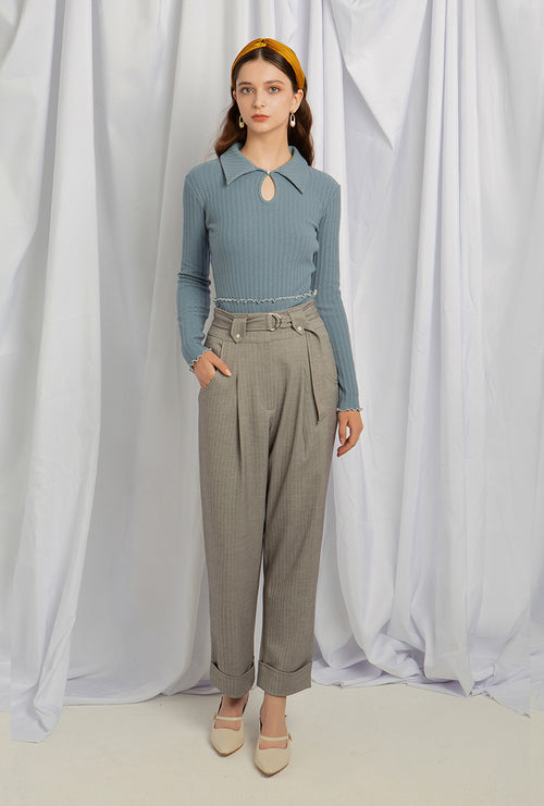 Nuremberg Pants - Grey - High waist pants- Petite Studio NYC