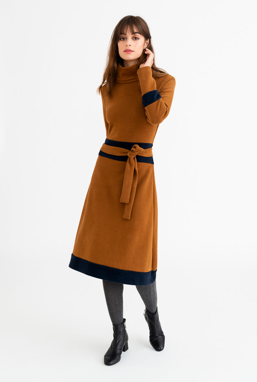 Anya Dress - Camel-dresses-Petite Studio
