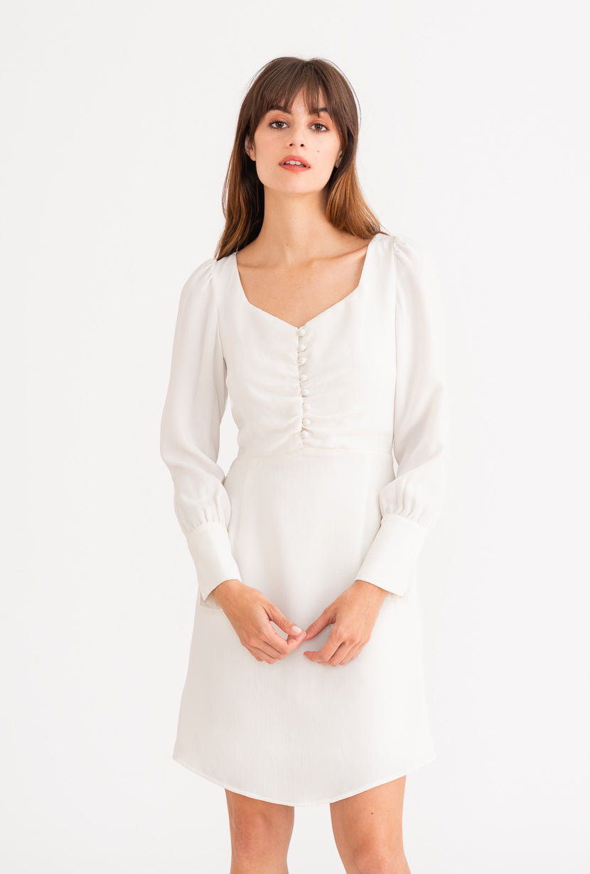 Hazel Dress - Ivory-dresses-Petite Studio