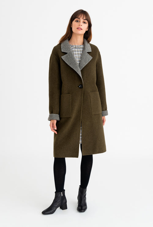 Rylie Coat - Olive & Grey-outerwear-Petite Studio