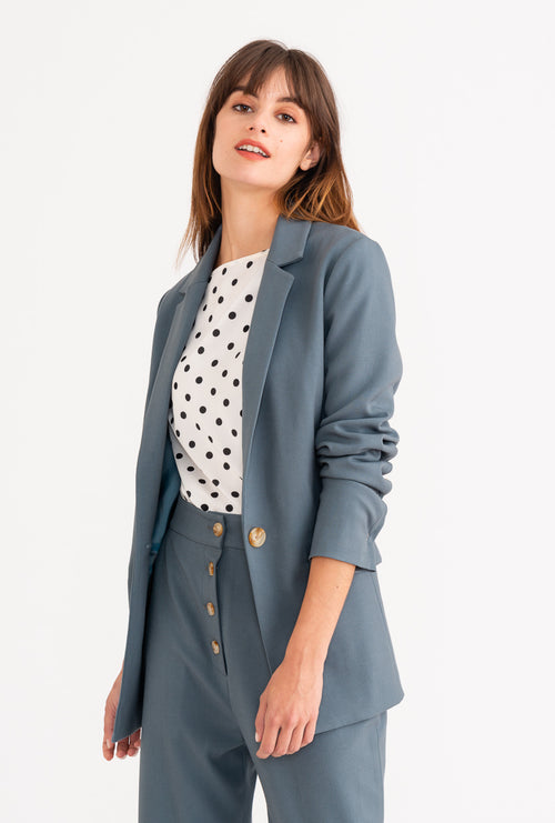 Veda Blazer - Dusty Blue-outerwear-Petite Studio