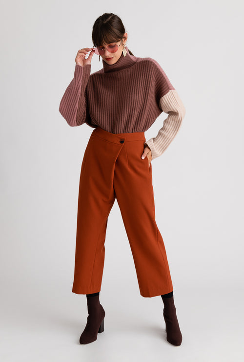 Bella Pants - Cinnamon - Cinnamon color wrap over slim silhouette high waisted pants - Petite Studio NYC